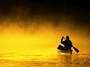 golden pond and canoe